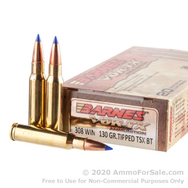 20 Rounds of 130gr TTSX .308 Win Ammo by Barnes VOR-TX