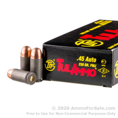 50 Rounds of 230gr FMJ .45 ACP Ammo by Tula