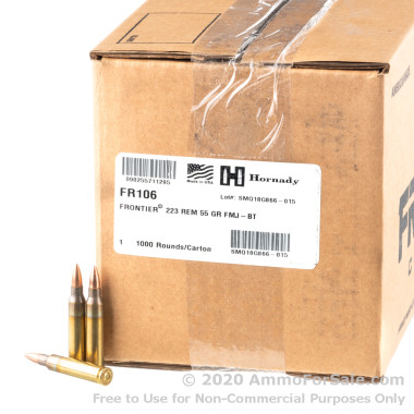 1000 Rounds of 55gr FMJ 223 Rem Ammo by Hornady