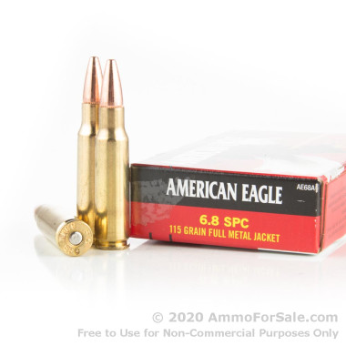 20 Rounds of 115gr FMJ 6.8 SPC Ammo by Federal American Eagle