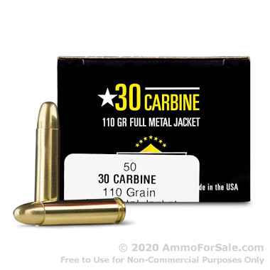50 Rounds of 110gr FMJ .30 Carbine Ammo by Armscor USA