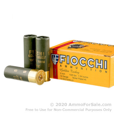 250 Rounds of 1 3/4 ounce #5 shot 12ga Ammo by Fiocchi