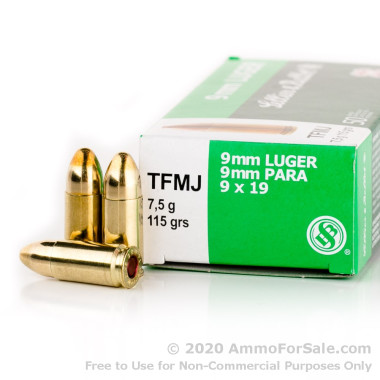 50 Rounds of 115gr TMJ 9mm Ammo by Sellier & Bellot