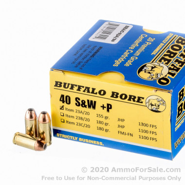 20 Rounds of 155gr JHP .40 S&W + P Ammo by Buffalo Bore