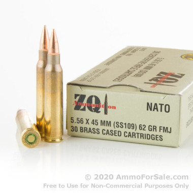 300 Rounds of 62gr FMJ 5.56x45 Ammo by ZQI Ammunition