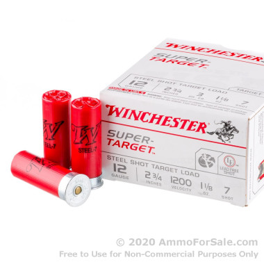 25 Rounds of 1 1/8 ounce #7 Shot (Steel) 12ga Ammo by Winchester