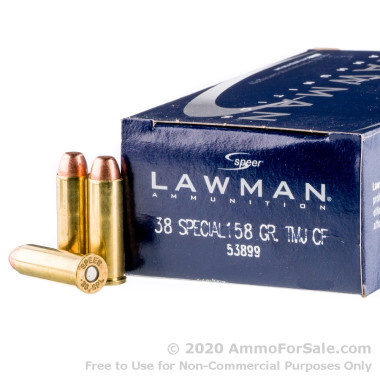 1000 Rounds of 158gr TMJ .38 Spl Ammo by Speer Lawman