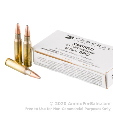 20 Rounds of 90gr Bonded Soft Point 6.8 SPC Ammo by Federal