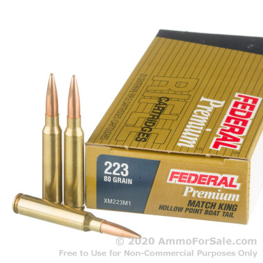 20 Rounds of 80gr HPBT .223 Ammo by Federal