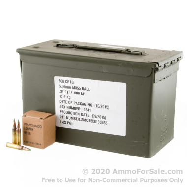 900 Rounds of 62gr FMJ 5.56x45 M855 Ammo by Federal