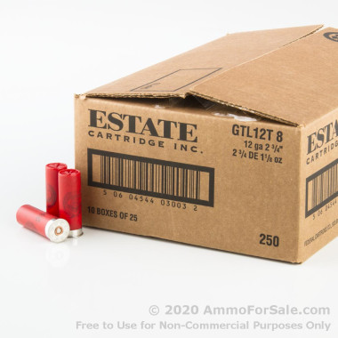 250 Rounds of 1 1/8 ounce #8 Shot 12ga Ammo by Estate Cartridge