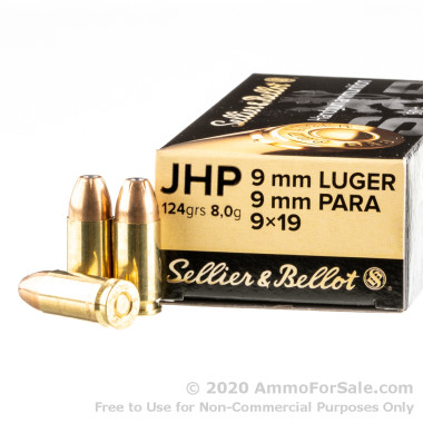 1000 Rounds of 124gr JHP 9mm Ammo by Sellier & Bellot