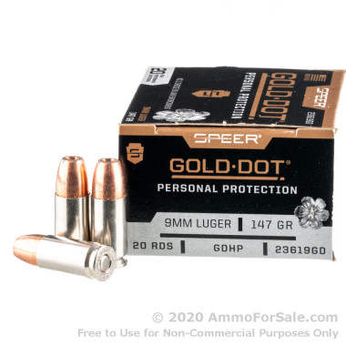 200 Rounds of 147gr JHP 9mm Ammo by Speer