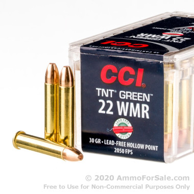 50 Rounds of 30gr HP .22 WMR Ammo by CCI TNT Green