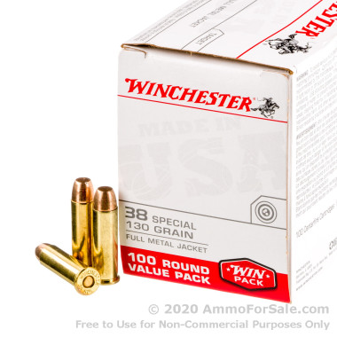 100 Rounds of 130gr FMJ .38 Spl Ammo by Winchester