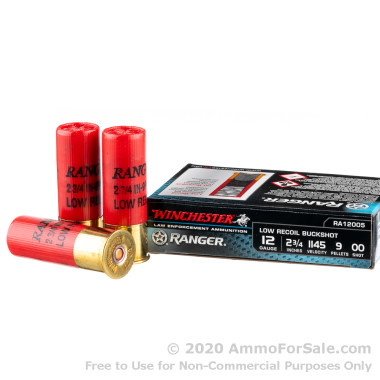 250 Rounds of  00 Buck 9 Pellets 12ga Ammo by Winchester Ranger