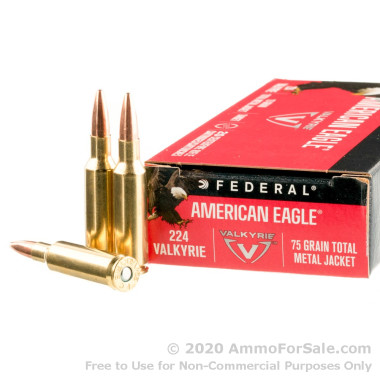 200 Rounds of 75gr TMJ .224 Valk Ammo by Federal