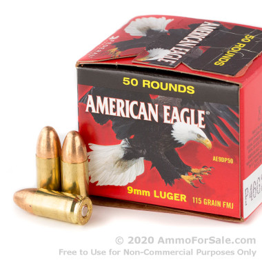 500 Rounds of 115gr FMJ 9mm Ammo by Federal American Eagle (Trayless)