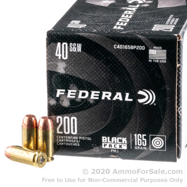200 Rounds of 165gr FMJ .40 S&W Ammo by Federal