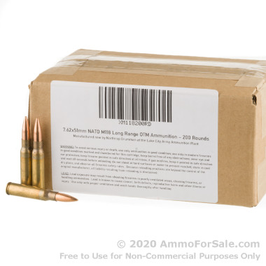 200 Rounds of 175gr HPBT .308 Win Ammo by Lake City