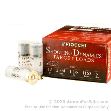 "250 Rounds of 2-3/4"" 1 1/8 ounce #8 shot 12ga Ammo by Fiocchi"