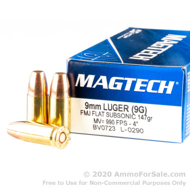 1000 Rounds of 147gr FMC 9mm Ammo by Magtech