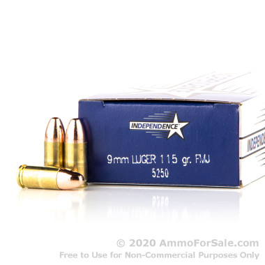 50 Rounds of 115gr FMJ 9mm Ammo by Independence
