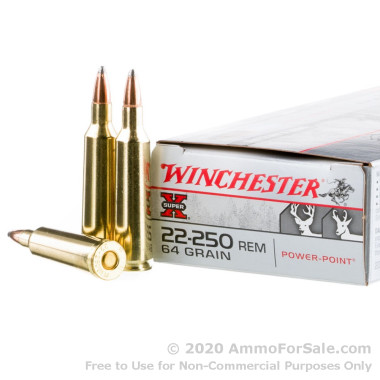 20 Rounds of 64gr PSP .22-250 Rem Ammo by Winchester