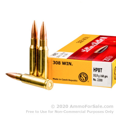 20 Rounds of 168gr HPBT .308 Win Ammo by Sellier & Bellot