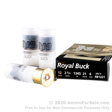 5 Rounds of  #4 Buck 12ga Ammo by Rio Ammunition