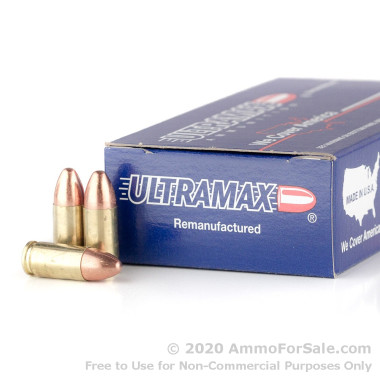 50 Rounds of 115gr FMJ 9mm Ammo by Ultramax