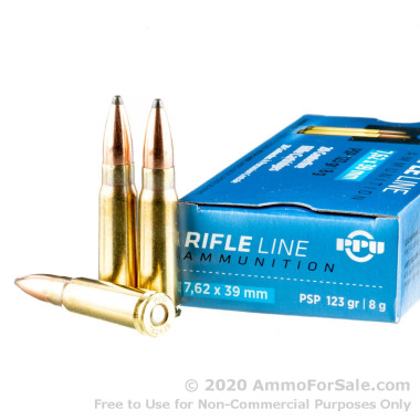 20 Rounds of 123gr PSP 7.62x39mm Ammo by Prvi Partizan