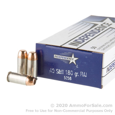 50 Rounds of 180gr FMJ .40 S&W Ammo by Independence