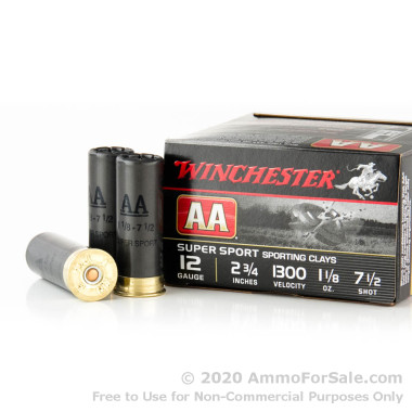 250 Rounds of 1 1/8 ounce #7 1/2 shot 12ga Ammo by Winchester AA Sporting Clay
