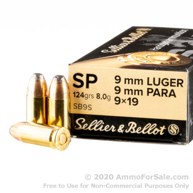 50 Rounds of 124gr SP 9mm Ammo by Sellier & Bellot