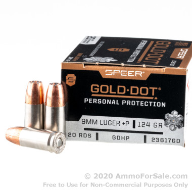 200 Rounds of 124gr JHP 9mm +P Ammo by Speer