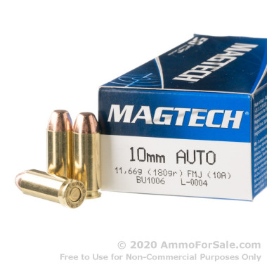 50 Rounds of 180gr FMJ 10mm Ammo by Magtech