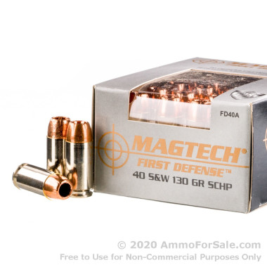 20 Rounds of 130gr SCHP .40 S&W Ammo by Magtech First Defense