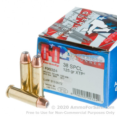 25 Rounds of 125gr JHP .38 Spl Ammo by Hornady