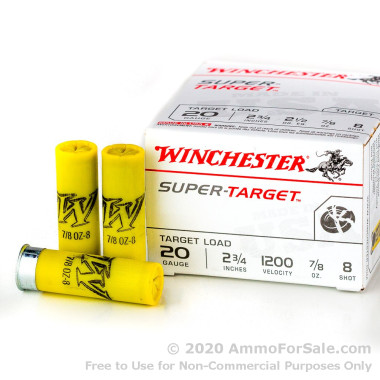 250 Rounds of 7/8 ounce #8 shot 20ga Ammo by Winchester