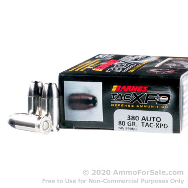 20 Rounds of 80gr TAC-XP HP .380 ACP Ammo by Barnes
