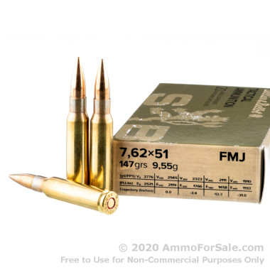 20 Rounds of 147gr FMJ 7.62x51mm Ammo by Sellier & Bellot