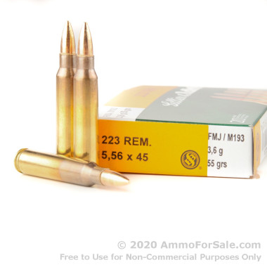 20 Rounds of 55gr FMJ 5.56x45 Ammo by Sellier & Bellot
