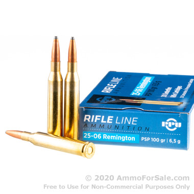 20 Rounds of 100gr Soft Point 25-06 Remington Ammo by Prvi Partizan