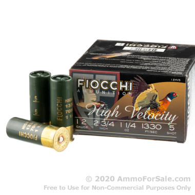 """25 Rounds of 2-3/4"""" 1 1/4 ounce HV #5 shot 12ga Ammo by Fiocchi"""