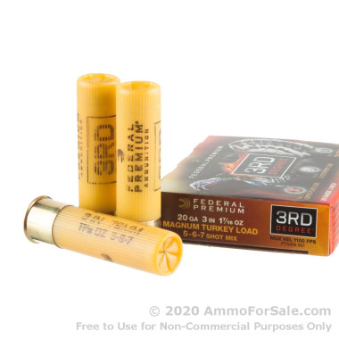 """5 Rounds of  3"""" 1 7/16 oz. #5-6-7 shot 20ga Ammo by Federal 3rd Degree"""