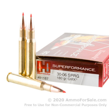 20 Rounds of 180gr GMX 30-06 Springfield Ammo by Hornady Superformance