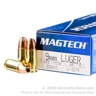 50 Rounds of 115gr JHP 9mm Ammo by Magtech