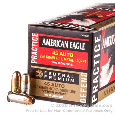120 Rounds of 230gr JHP .45 ACP Ammo by Federal