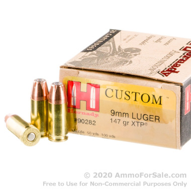25 Rounds of 147gr JHP 9mm Ammo by Hornady